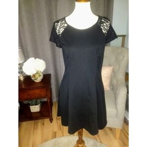 HOLIDAY Black Dress w/lace cap sleeves